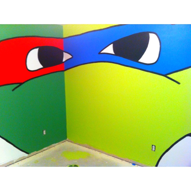 I Only Want Light Green Walls With Each Wall One Of The Ninja Turtle Masks  Purple