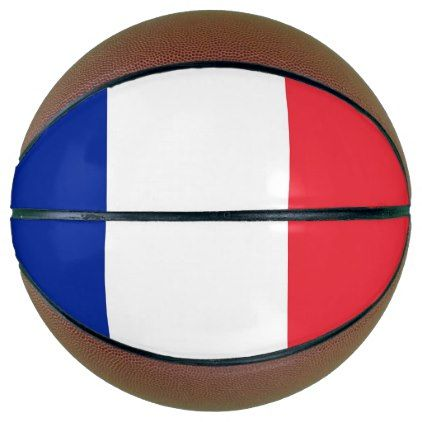 Fullsize Basketball with Flag of France - kids kid child gift idea diy personalize design