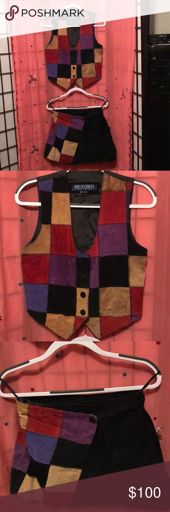 💞SALE💞Beyond genuine leather vest and skirt set Beyond black genuine leather vest and skirt with multi colors vest size medium/skirt size 9 (sold as a set) Beyond Other