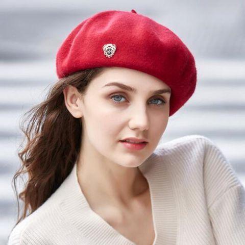 Badge wool beret hat or women vintage winter barrette hat  a1121d36b8e