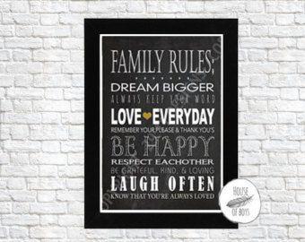 Family Rules, Art Print, ETSY, Be Happy, Love Everyday, Dream Bigger, Print