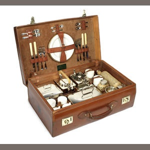 A leather-cased picnic set for four persons, by John Pound & Co., London, 1920s