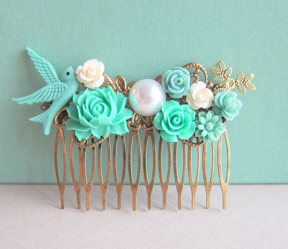 Jewelsalem - Turquoise Wedding Hair Comb Aqua Bridesmaids Gift Mint Bridal Head Piece Floral Flowers Comb Something Blue Vintage Style Shabby Chic