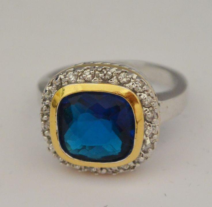 Two-tone cushion cut blue ring