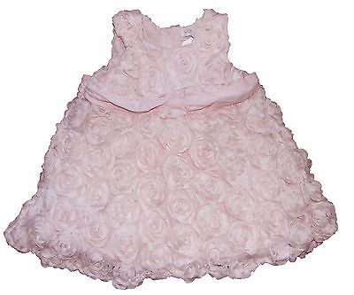 Baby Dress Special Occasion Pink Swirl 3D Rose Effect 3m up to 24 months