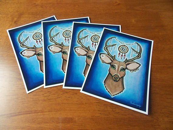 "4 Pieces Set of Art Postcard ""Astral Deer"""