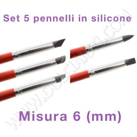 Modecor Pennelli punta in silicone per decorazione, misura 6 mm - 5 pezzi