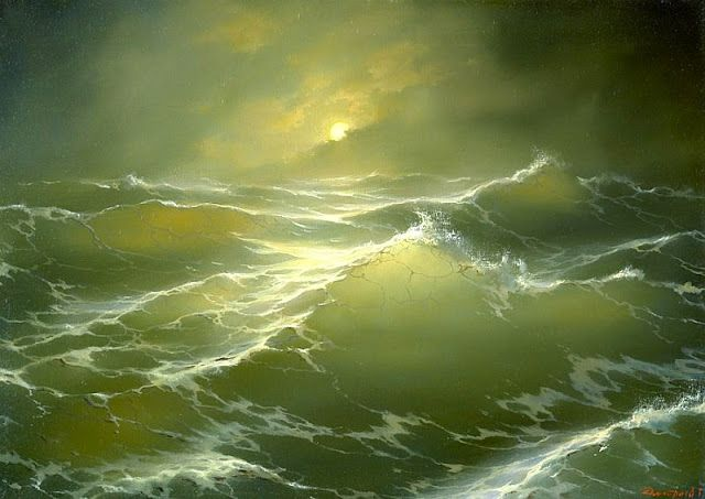 Painting by George Dmitriev,Landscape oil painting,figurative painting,moon in painting: