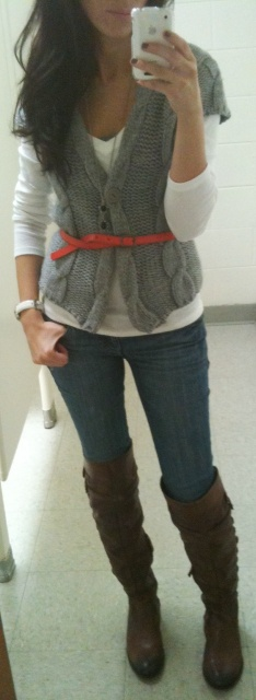 long sleeve white shirt, chunkier sweater vest, skinny belt (colorful, if you want), leggings/skinny jeans, boots
