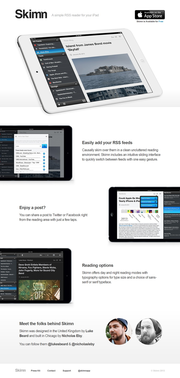 Skimn - A simple RSS reader for your iPad