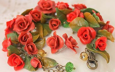 Bracelet & Earrings Jewelry Set / Flowers Red Roses / Handmade