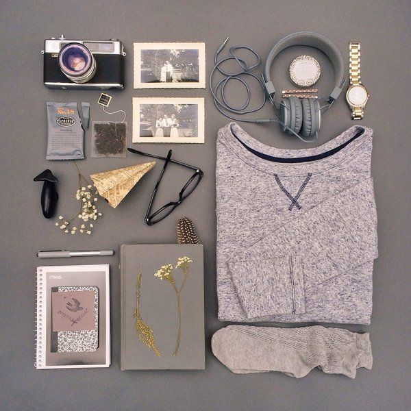 Gray Skies-Photographer Emily Blincoe pairs her gray Gap marled sweatshirt with other neutrals for a chilly day indoors.