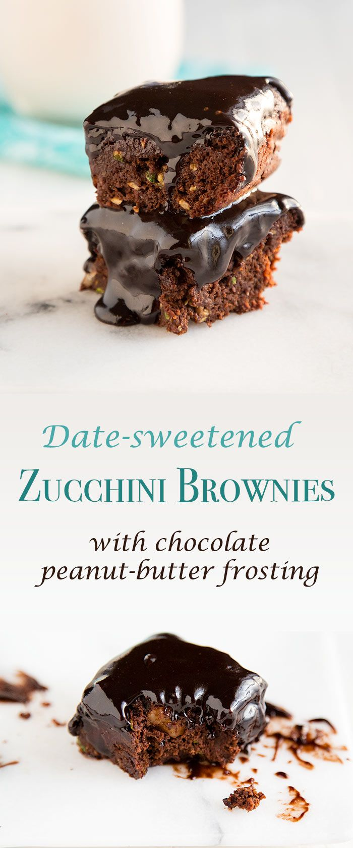 These vegan zucchini brownies are low in sugar and fat, but the decadent chocolate-peanut frosting makes them taste rich and fudgy.