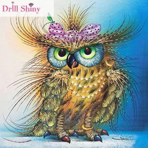 [EBay] Cna 5D Diy Diamond Painting Owl Animal Embroidery Full Mosaic Rhinestone Cross Stitch Ribbon Needlework Wall Paper