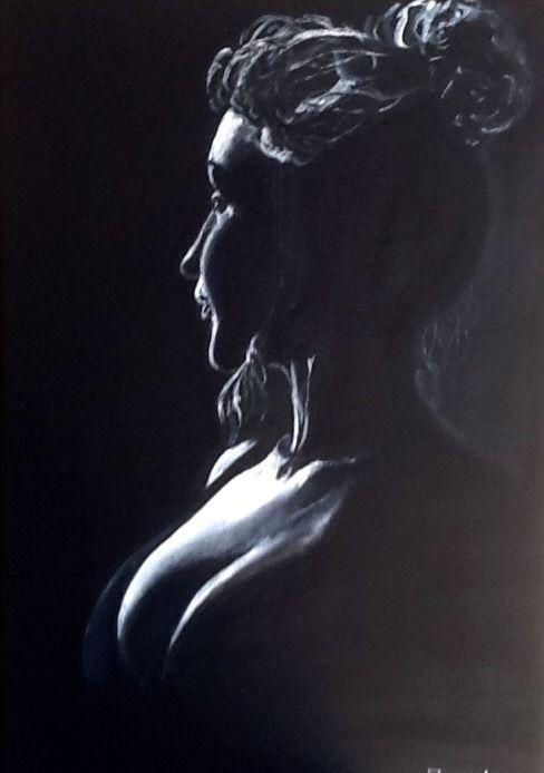 VENDU - Clair obscur 7 - portrait belle femme - toile de coton noire - acrylique blanche : Peintures par magaline-arts