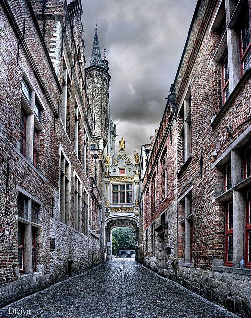 Blind Donkey Alley in Bruges Brugge)_ Belgium