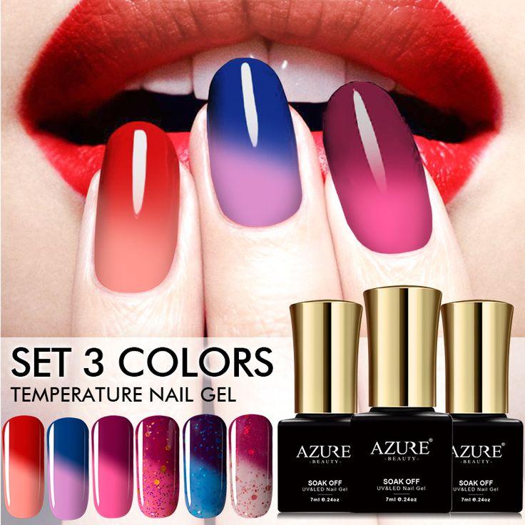 AZURE BEAUTY Gel Nail Kit Temperature Change Colors Nail Polish Soak Off Thermal Gel Varnish Azure Gel Nail Polish 3pcs/lot