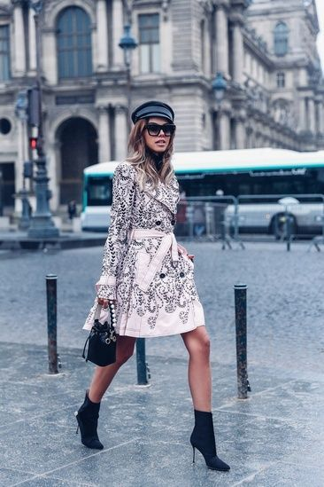 befa511fb368b Rainy day in Paris wearing a pink embroidered trench coat with a Fendi bag  and Manolo Blahnik black boots #ShopStyle #shopthelook #SpringStyle  #MyShopStyle ...