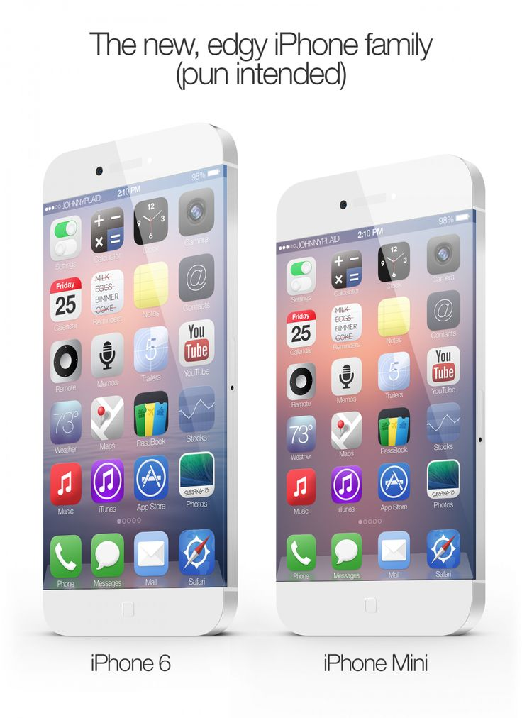 iPhone6 concept by Graphic designer Johnny Plaid 2013-08-06...since iPhone5S/6 are rumored to launch this Fall. Plaid thinks maybe not 2013 but 2014 iPhone6 will be 1st radical industrial design departure since initial iPhone 2007-06-29...what do u think? When is iPhone6 out? When will iPhone be radically different, not just inside, but physically? There's been 6 iPhones so far (1/3G/3GS/4/4S/5) • http://en.wikipedia.org/wiki/Iphone • www.apple.com/iphone • this pin: iPhone6 + 6 mini