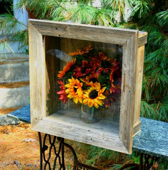 Shadow Box Wedding Wall Shelf Deep Beach Cottage Chic Bridal Bouquet Distressed Furniture Rustic