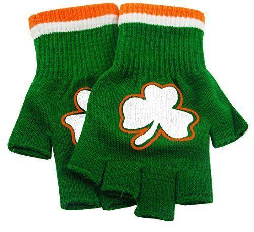 St Patricks Day Fingerless Shamrock Gloves Pair Irish Party Night NEW #Bewild