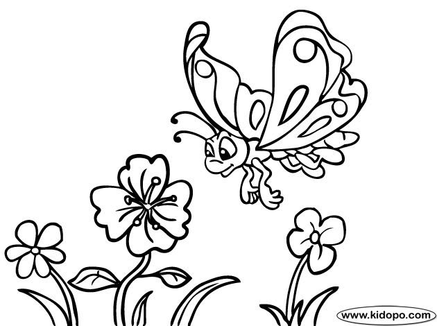 Butterfly With Flowers Coloring Pages Butterfly and