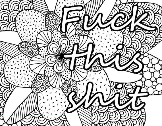 fck this sht adult coloring book page instant by artswearapy - Dirty Coloring Books