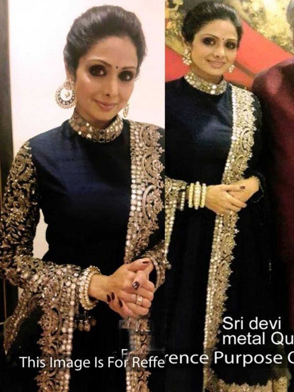Sri Devi navy Blue Joya silk Semi Stitched Bollywood Salwar Suit with Matching Color Santoon Bottom & Nazneen Dupatta and Santoon Inner. It contained the work of Mirror & Multy with Lace Border. This Bollywood Gown can be customized up to bust size 42