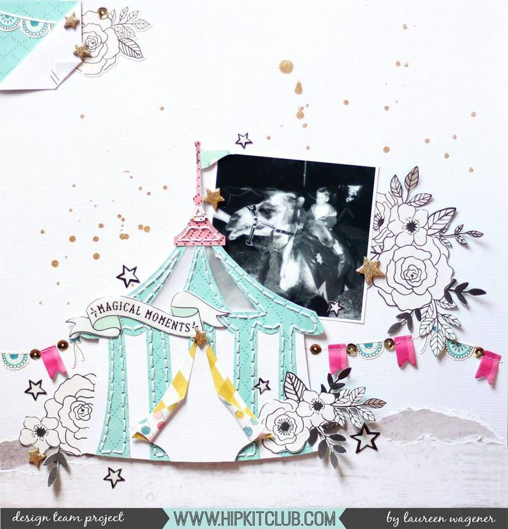 Have you ever tried hand stitching? It can really enhance a pretty project and designer @madamerosenrot created this stunning layout using this technique together with the #august2017 #hipkits!  @hipkitclub #hkcexclusives #exclusives #hipkitclub #hipkit #hipkitexclusives @cratepaper @maggiehdesign #carousel #CPcarousel #banners #circus #handstitching #fussycutting #florals #flowers #layers #kitclub #scrapbookkits #papercrafting #scrapbookingkitclub #scrapbooking