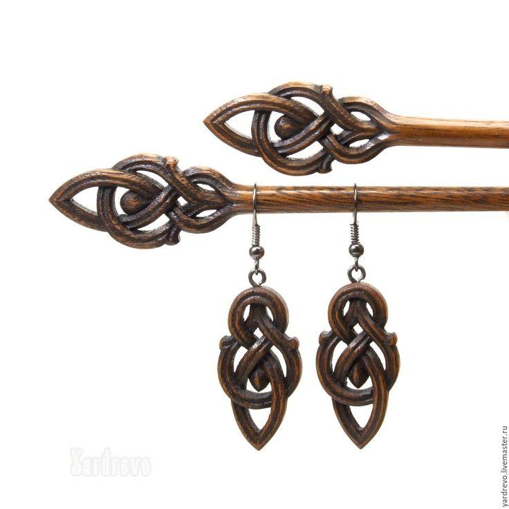 """Купить Серьги из дерева резные""""Стрелы Галадрим"""" - серьги, сережки, из дерева, резьба по дереву, эльфийские украшения"""