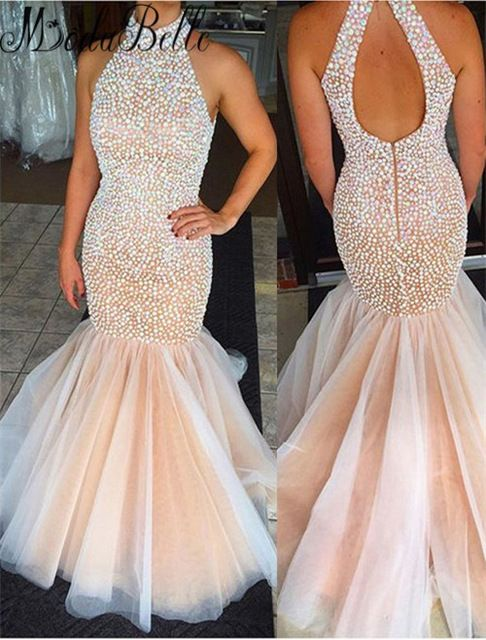 Luxury Long Mermaid Prom Dresses With Pearls 2016 Elegant High Neck Pageant Dresses Prom For Women Vestidos De Graduacion