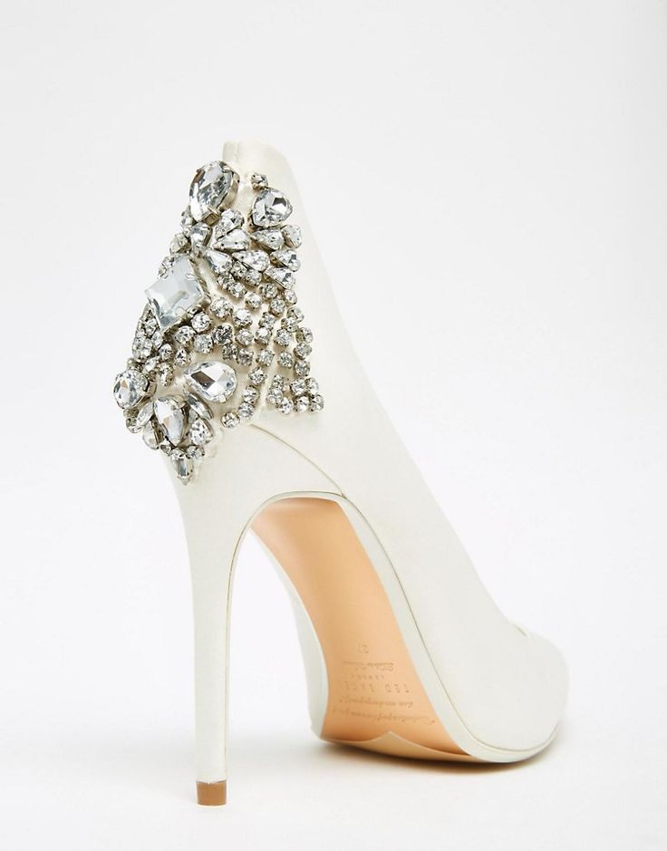 Image 3 ofTed Baker Mieon Tie The Knot Bridal Embellished Heel Leather Court Shoes                                                                                                                                                      More