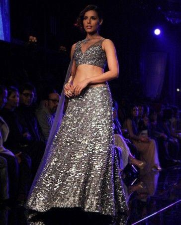 Silver Sequined Gray Lengha Set - Gloss Collection by Manish Malhotra, Shop Now: http://bit.ly/manishmalhotralfw2014 #Lengha #Lehenga #ManishMalhotra #Wine #Burgundy #Kalidar #Gold #Sari #Maroon #Indian #India #Desi #Designer #LFW #Luxury #Celebrity #Bollywood #Peach #RedCarpet #Beautiful #Stunning #FashionWeek #Golden #Saree #Floral #Fashion #Style #Trend #Runway #Gorgeous #BridalWear #WeddingWear #Brown #JacketLengha #zari #Sequin #Embroidery #MirrorWork #LakmeFashionWeek