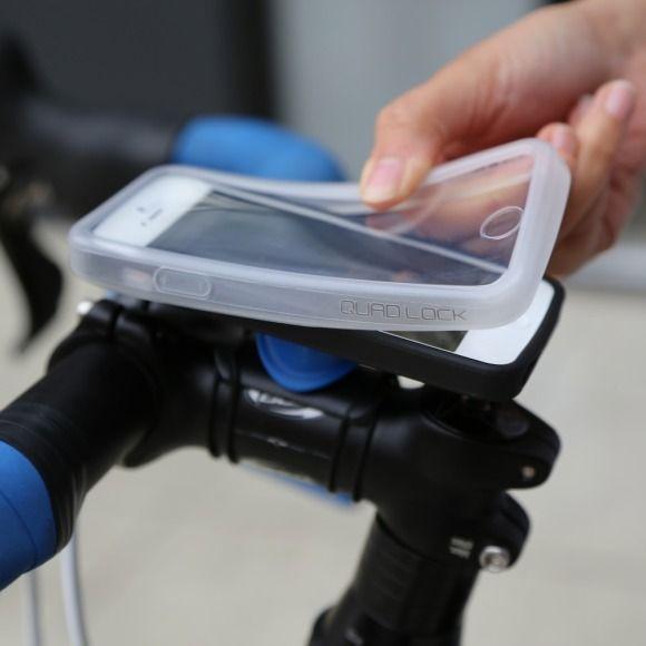 The quad lock iPhone 5 bike mount kit includes: 1 x quad lock case for iPhone 5 (polycarbonate/TPU) 1 x quad lock bike mount PRO 1 x poncho weather resistant