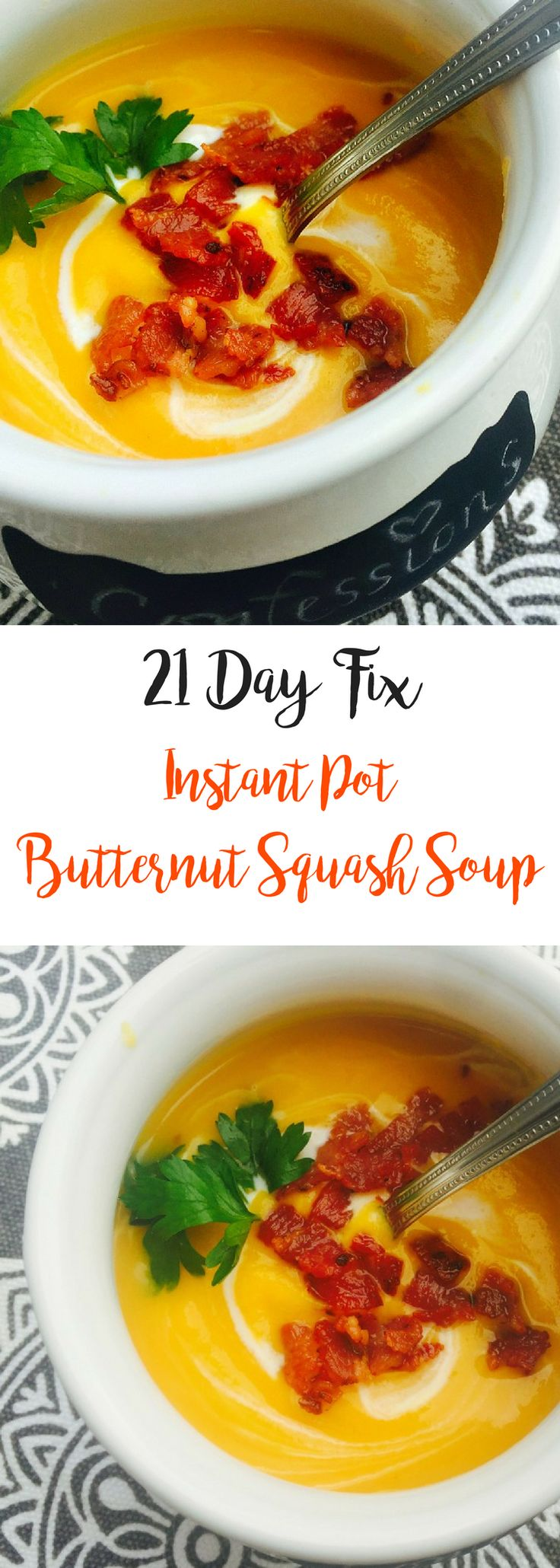 This 21 Day Fix Butternut Squash Soup is dairy free, gluten free, but oh so comforting and delicious.  Updated with Instant Pot directions!  Confession #98- I have wasted many a Butternut Squash over the years. I mean, while at the farm stand, it always seemed like a fabulous idea to buy one or even a...