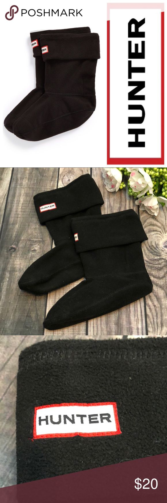 """HUNTER Short Fleece Boot Liners Great condition! Barely used.  Black fleece boot liners for their shorter wellies   8"""" shaft when the top is folded over Fits women's 5-7 Hunter Accessories"""