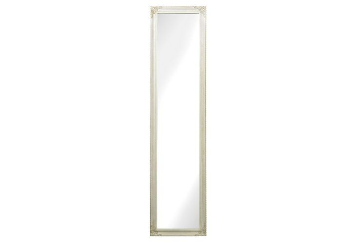 Traditional Floor Mirror, White