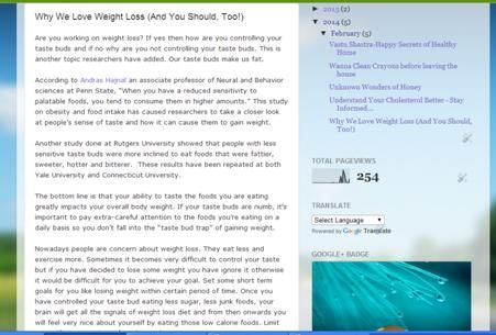 This is about weight loss blog