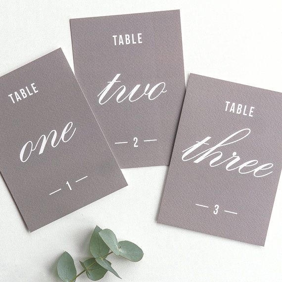 """Traditional Style Table Numbers / Grey - 7x5"""""""