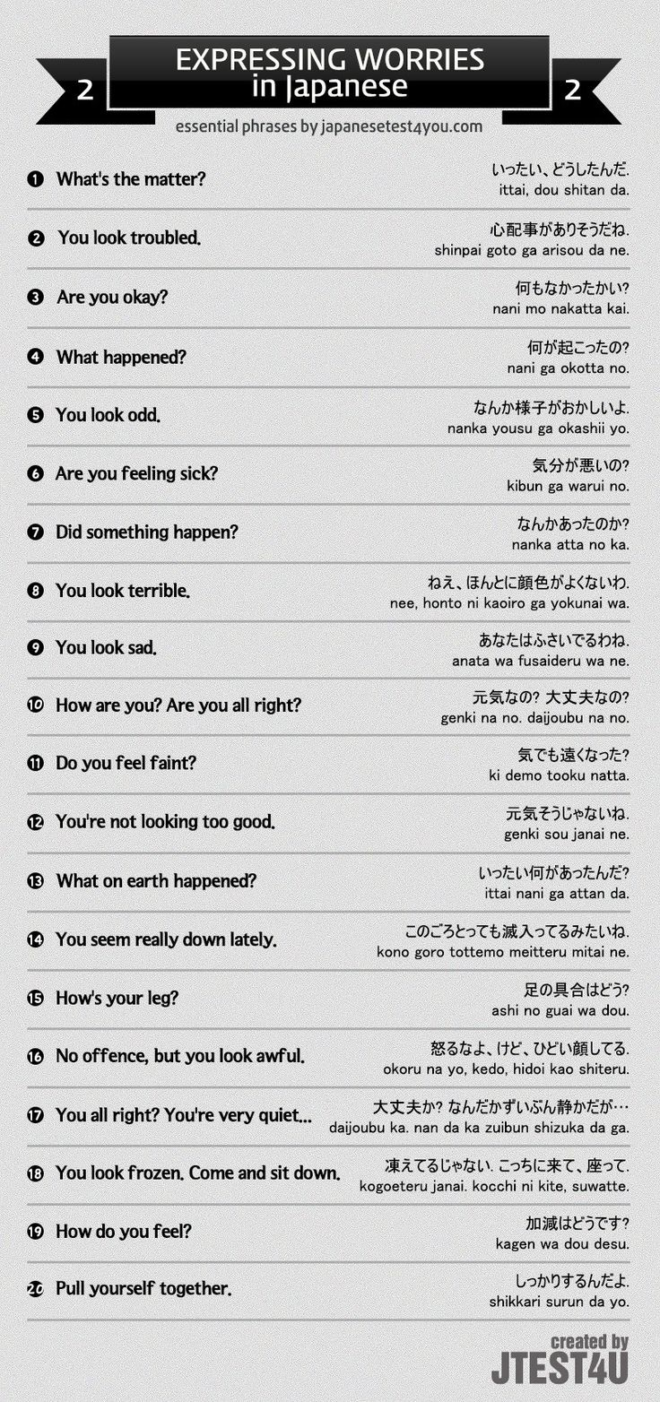 Infographic: How to express worries in Japanese part 2. http://japanesetest4you.com/infographic-how-to-express-worries-in-japanese-part-2/