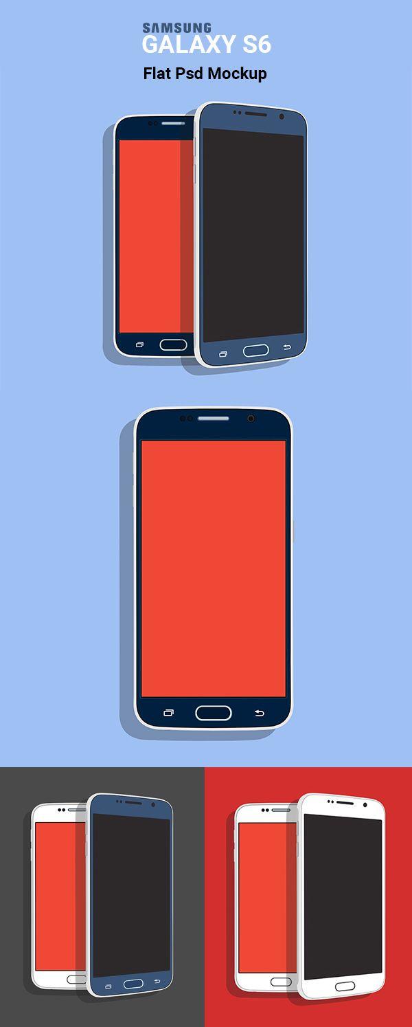 Free Samsung Galaxy S6 Flat PSD Mockup #freepsdfiles #freepsdmockups #freemockuptemplates