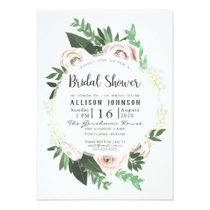 Watercolor Floral White Green Bridal Shower Card - floral bridal shower gifts wedding bride party