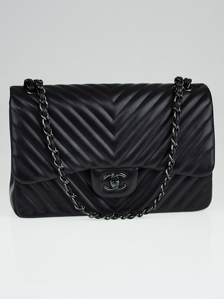 Chanel Black Chevron Quilted Lambskin Leather So Black Double Jumbo Flap Bag