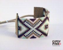 EQUIS groen water geborduurd gerolde armband stijl navajo tribal