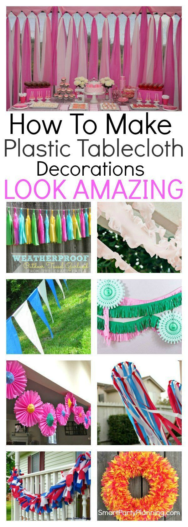 These 12 easy plastic tablecloth decorations will make decorating for parties a breeze. With all the items easily purchased from dollar stores, they are not only effective and easy to make, but really cheap too. Whether you want to make a photo booth backdrop design, streamers or simply jazz up table runners, all the party ideas are here for you. Party decoration could not be easier. #Decoration #Party #Easy
