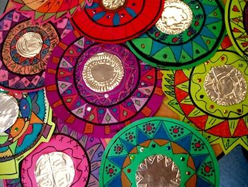 Mexican Mirrors. These are beautiful and easier to make than they look. Great project in celebration of National Hispanic Heritage Month.