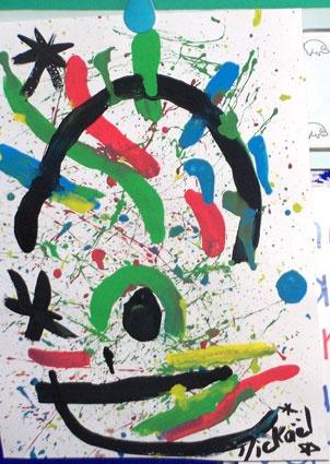 Tableau à la manière de Joan Miro - Tête à modeler