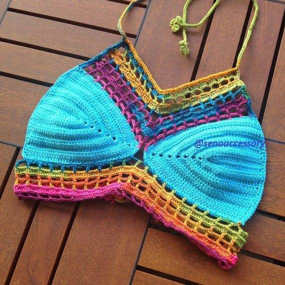 Parte superior del Bikini de ganchillo ganchillo traje de baño Halter Top Festival ropa - perfecto con pantalones cortos y pantalones vaqueros y
