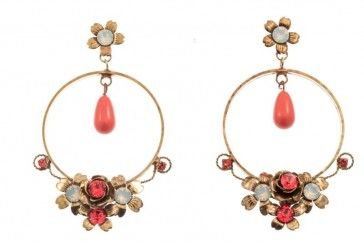 Handmade bronze metal plated hoop earrings with coral pearls and Swarovski strasses, by Art Wear Dimitriadis