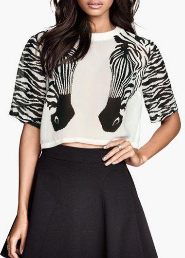 Half Sleeve Animal Print Crop Top Sweater